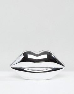 Серебристый клатч в форме губ Lulu Guinness - Серебряный