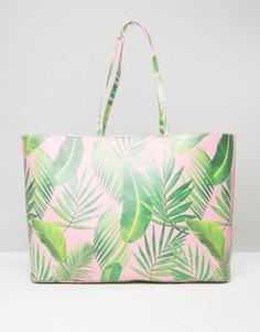 Сумка для покупок с крупным пальмовым принтом ASOS BEACH - Мульти