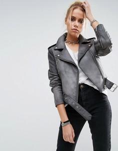 Кожаная байкерская куртка с выбеленным эффектом ASOS - Серый