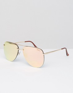 Quay Australia Exclusive To ASOS The Playa Rimless Aviator Sunglasses - Розовый