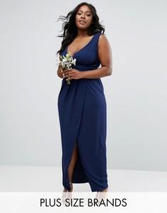 TFNC Plus Wedding Wrap Front Maxi Dress With Wrap Skirt - Темно-синий