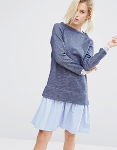 Платье-джемпер 2 в 1 с полосатым подолом в стиле рубашки I Love Friday - Синий
