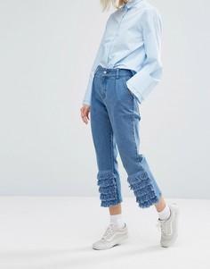 Джинсы в винтажном стиле с отделкой рюшами I Love Friday - Синий