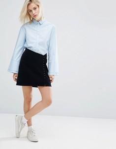 Асимметричная мини-юбка с пуговицами I Love Friday - Темно-синий