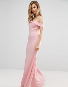 Платье макси с открытыми плечами и подолом годе Club L Bridesmaid - Розовый
