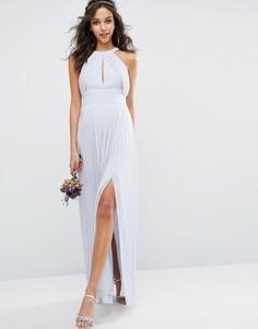 Плиссированное платье макси TFNC WEDDING - Синий