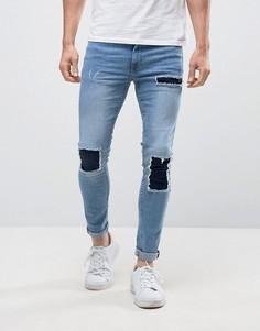 Синие джинсы скинни с заплатками New Look - Синий