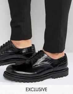 Кожаные туфли дерби с крокодильим эффектом Hudson London эксклюзивно для ASOS - Черный