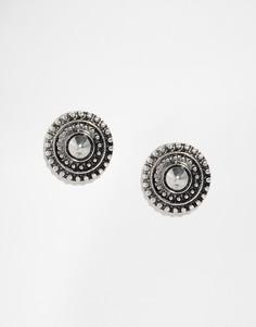 Серьги-гвоздики с гравировкой DesignB London - Серебряный