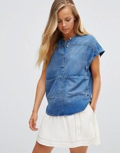 Maison Scotch Short Denim Sleeveless Shirt - Синий