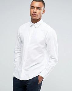 Хлопковая саржевая рубашка классического кроя с длинными рукавами Esprit - Белый