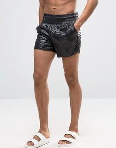 Черные шорты для плавания с эффектом мокрой ткани и широким поясом ASOS - Черный