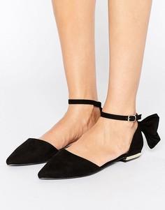 Туфли на плоской подошве с бантом Miss KG Norah - Черный