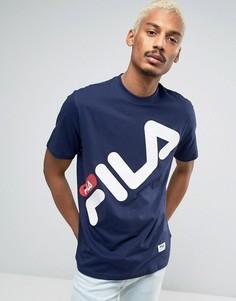 Черная футболка с большим логотипом Fila - Темно-синий