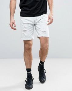 Рваные джинсовые шорты слим ASOS - Синий