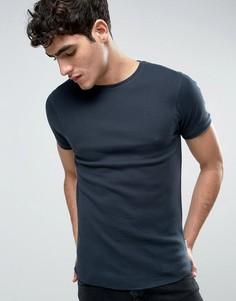 Обтягивающая футболка из вафельного трикотажа Bellfield - Темно-синий