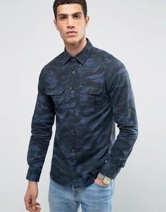 Камуфляжная рубашка классического кроя Jack & Jones Vintage - Темно-синий