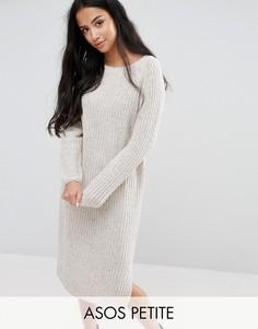 Платье миди крупной вязки ASOS PETITE - Бежевый