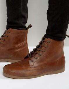 Коричневые кожаные ботинки на шнуровке ASOS - Рыжий