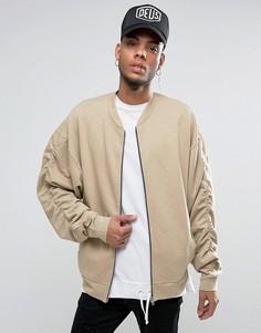 Меланжевая трикотажная куртка-пилот в стиле oversize со сборками на рукавах ASOS - Бежевый