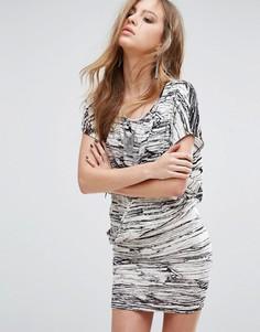 Платье с запахом и мраморным принтом Religion - Белый