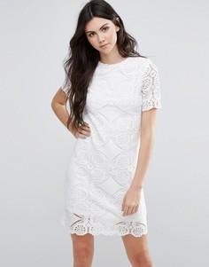 Кружевное цельнокройное платье с короткими рукавами Vila - Белый