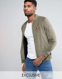 Велюровая куртка-пилот с небольшим логотипом Ellesse - Зеленый
