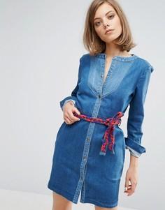 Джинсовое платье на кнопках с завязкой Vanessa Bruno Athe - Синий