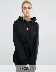Oversize-худи с вышитым огнем Adolescent Clothing - Черный