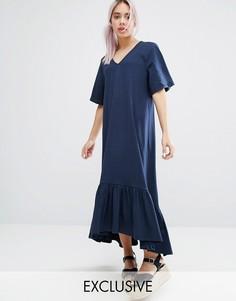 Monki V Neck Ruffle Hem Dress - Темно-синий