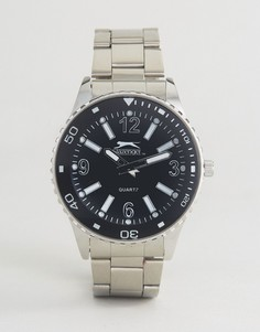 Серебристые часы с черным циферблатом Slazenger - Серебряный