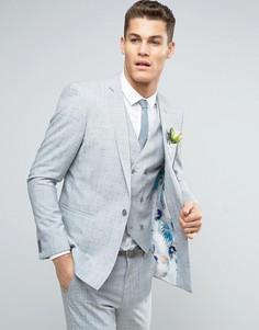 Приталенный пиджак в крапинку с цветочным принтом на подкладке ASOS WEDDING - Серый