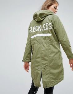 Парка с надписью Reckless ASOS - Зеленый