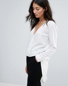 Рубашка с драпировкой спереди и удлиненным краем Unique 21 - Белый