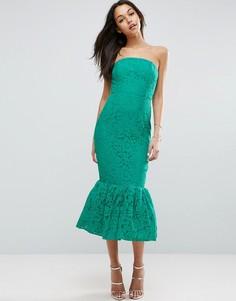 Кружевное платье-бандо миди ASOS - Зеленый