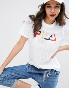 Сетчатая футболка с разноцветным логотипом Fila - Белый