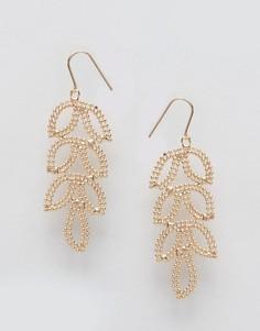 Серьги-подвески с листиком Nylon - Золотой