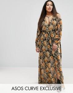 Платье макси с цветочным принтом и длинными рукавами ASOS CURVE - Мульти