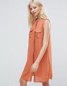 Платье-рубашка без рукавов с карманами милитари Vero Moda - Коричневый