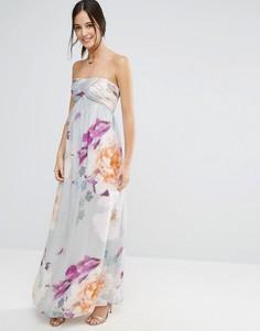 Платье-бандо макси с цветочным принтом Liquorish - Фиолетовый