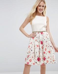 Платье с ремнем и юбкой с цветочным принтом Closet - Мульти