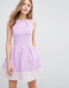 Приталенное платье с кружевным подолом Closet - Фиолетовый