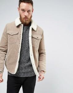 Вельветовая куртка на искусственной меховой подкладке ASOS - Бежевый