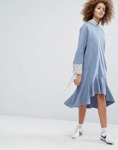 Платье с заниженной талией и присборенной юбкой STYLENANDA - Синий