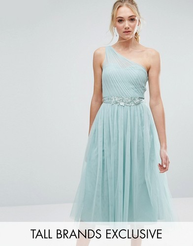 Little Mistress Tall Full Prom Tulle One Shoulder Midi Dress With Lace Applique - Зеленый