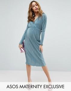 Плиссированное платье-футляр с запахом ASOS Maternity - Синий