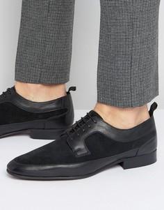 Черные кожаные туфли дерби с замшевой отделкой ASOS - Черный