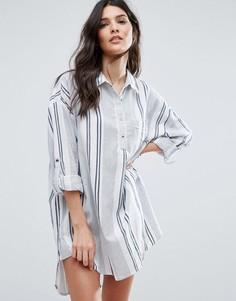 Oversize платье-рубашка в полоску Vila - Мульти
