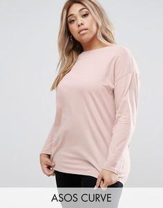 Oversize-футболка с длинными рукавами ASOS CURVE Ultimate - Розовый