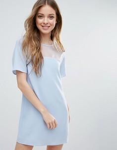 Цельнокройное платье со вставками Neon Rose - Синий